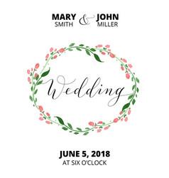 Wedding card with flower wreath invitation vector