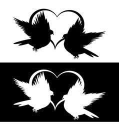 Monochrome silhouette of two doves and a heart vector