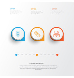 Icons set collection of speaker printer vector