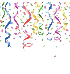 Colorful confetti and twirled party streamers vector image
