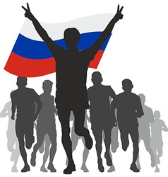 Winner with the Russia flag at the finish vector image