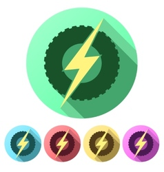 Set flat icons of round wheel with lightning eco vector