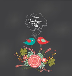 Valentines day romantic floral and bird card vector
