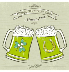 Card for st patricks day with beer mug vector