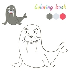 Coloring book bird seal kids layout for game vector