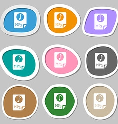 Audio mp3 file icon sign multicolored paper vector