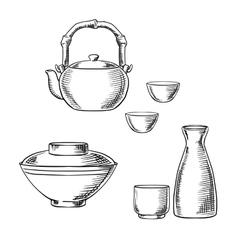 Japanese ceramic tableware sketch icons vector