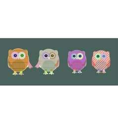 Set of cute textile owls vector