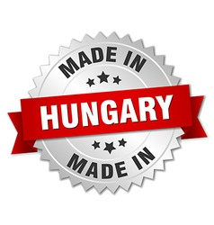 Made in hungary silver badge with red ribbon vector