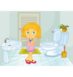Girl in the bathroom vector