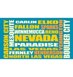 Nevada state cities list vector