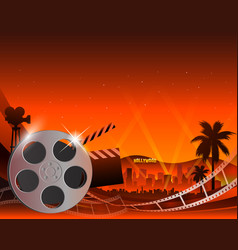a film stripe reel on shiny red vector image vector image