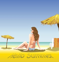 A girl with sun glasses and swimming suit vector