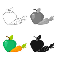 Apple with carrot icon in cartoon style isolated vector