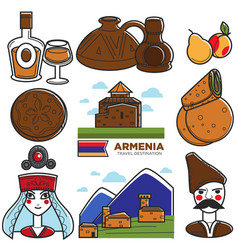 armenia tourism travel landmarks and armenian vector image