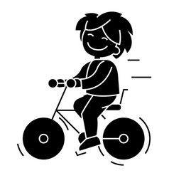 bicycle boy riding icon vector image