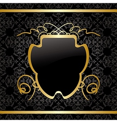 black background with gold decorations - vintage vector image