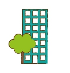 City scene and building with tree image vector