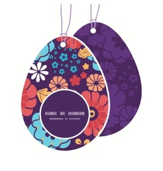 Colorful bouquet flowers easter egg shaped vector