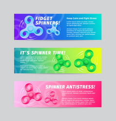 colorful gradient fidget spinner banners vector image
