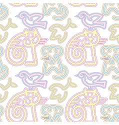 embroidered cat bird and mouse pattern vector image vector image