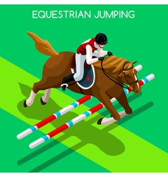 Equestrian jumping 2016 summer games 3d vector