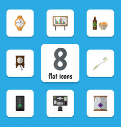 Flat icon life set of clock cellphone beer with vector