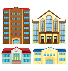 four different building design vector image