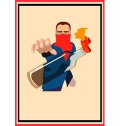 guy throws a Molotov cocktail poster vector image vector image