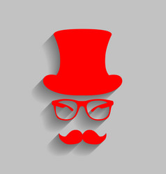 Hipster accessories design red icon with vector