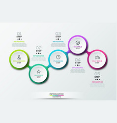 Infographic design template with 5 connected vector