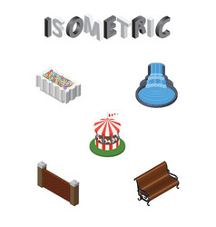 Isometric city set of sitting garden decor vector