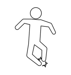 Line pictogram man jumping up concept vector