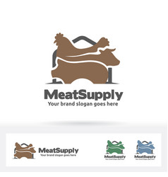 meat supply logo beef chicken and pig symbol vector image