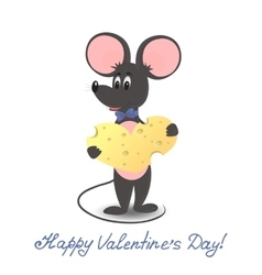 Mouse with cheese heart valentines day vector