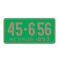 Nevada 1953 license plate vector