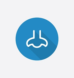 nose Flat Blue Simple Icon with long shadow vector image vector image