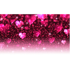 Pink valentines background with hearts vector