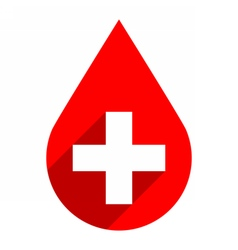 Red drop icon first aid donate blood sign vector image vector image