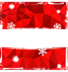 Red triangle grunge christmas background with vector image vector image