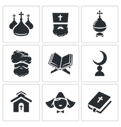 Religion confessions Icon set vector image