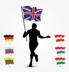 Running man silhouette with flag in his hand vector image