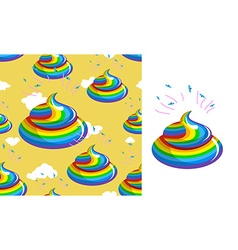 Shit unicorn pattern Turd rainbow colors Kal vector image vector image