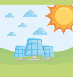 solar panels clean energy concept vector image