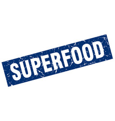 Square grunge blue superfood stamp vector