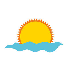 summer sun with sea isolated icon vector image