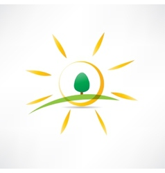 sunny landscape icon vector image vector image