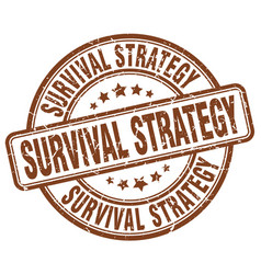 Survival strategy brown grunge stamp vector