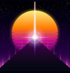Synthwave retro design pyramid ray and sun vector