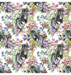 Zebra flowers Seamless pattern vector image vector image